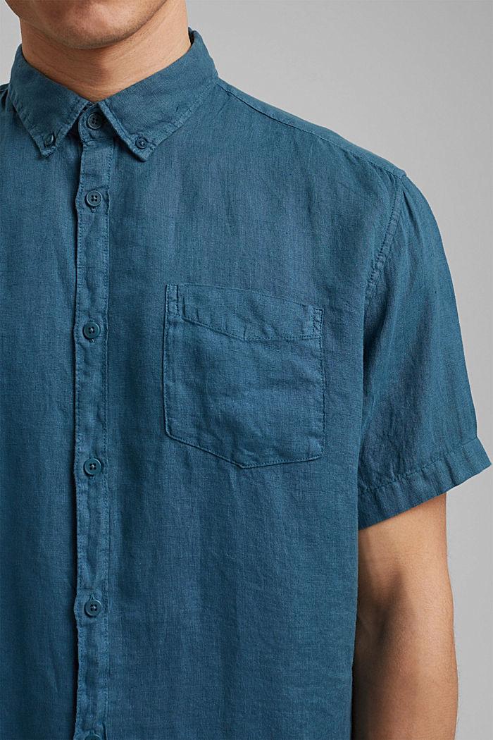 #ReimagineNaturalLifestyle: Shirt made of linen, TEAL BLUE, detail image number 2
