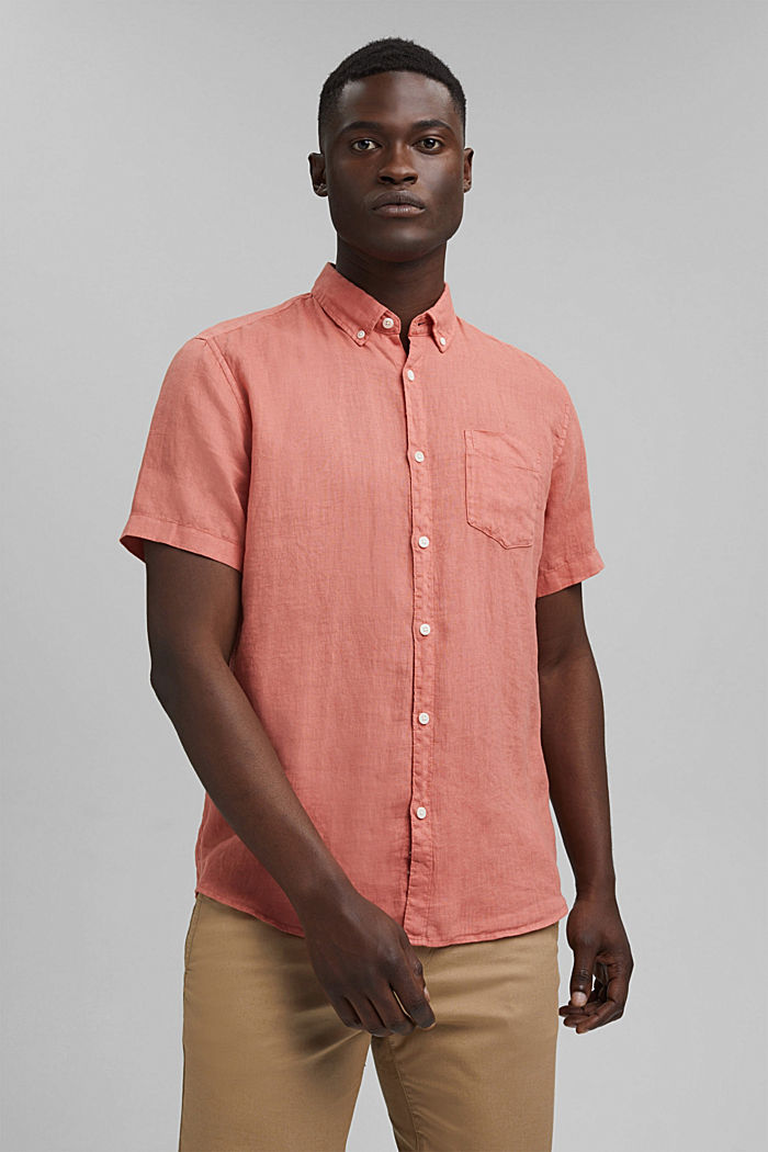 #ReimagineNaturalLifestyle: Shirt made of linen, CORAL RED, detail image number 0