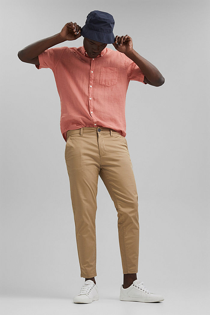 #ReimagineNaturalLifestyle: Shirt made of linen, CORAL RED, detail image number 1
