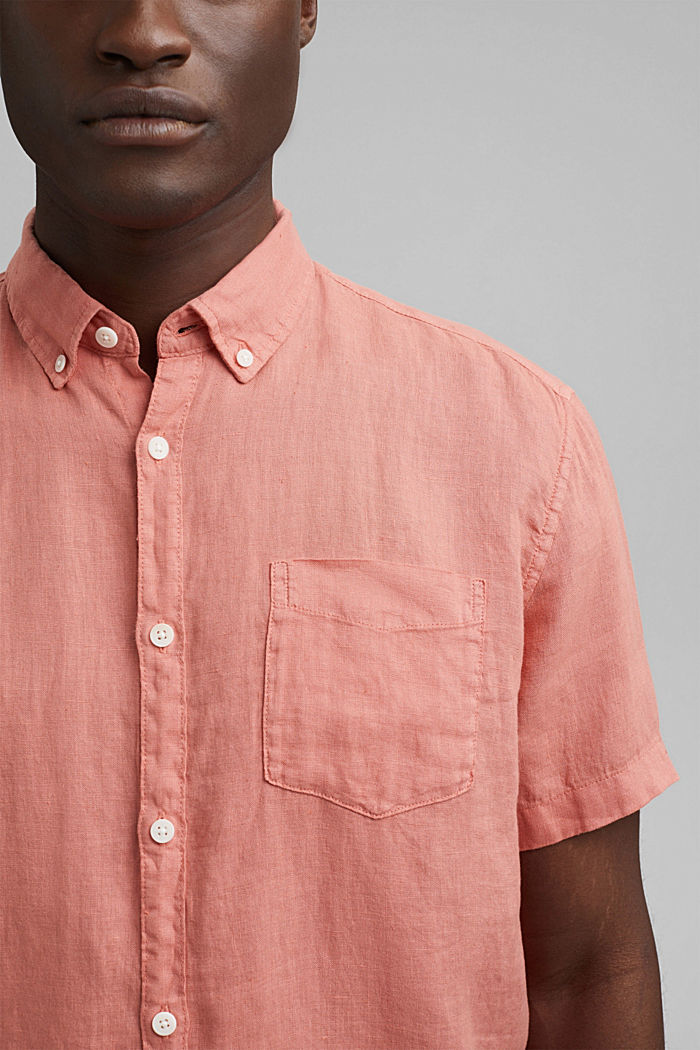 #ReimagineNaturalLifestyle: Shirt made of linen, CORAL RED, detail image number 2