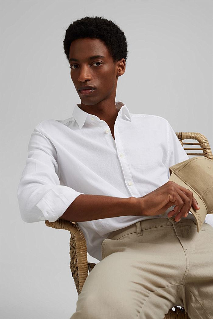 Struktur-Hemd aus 100% Organic Cotton, WHITE, detail image number 7