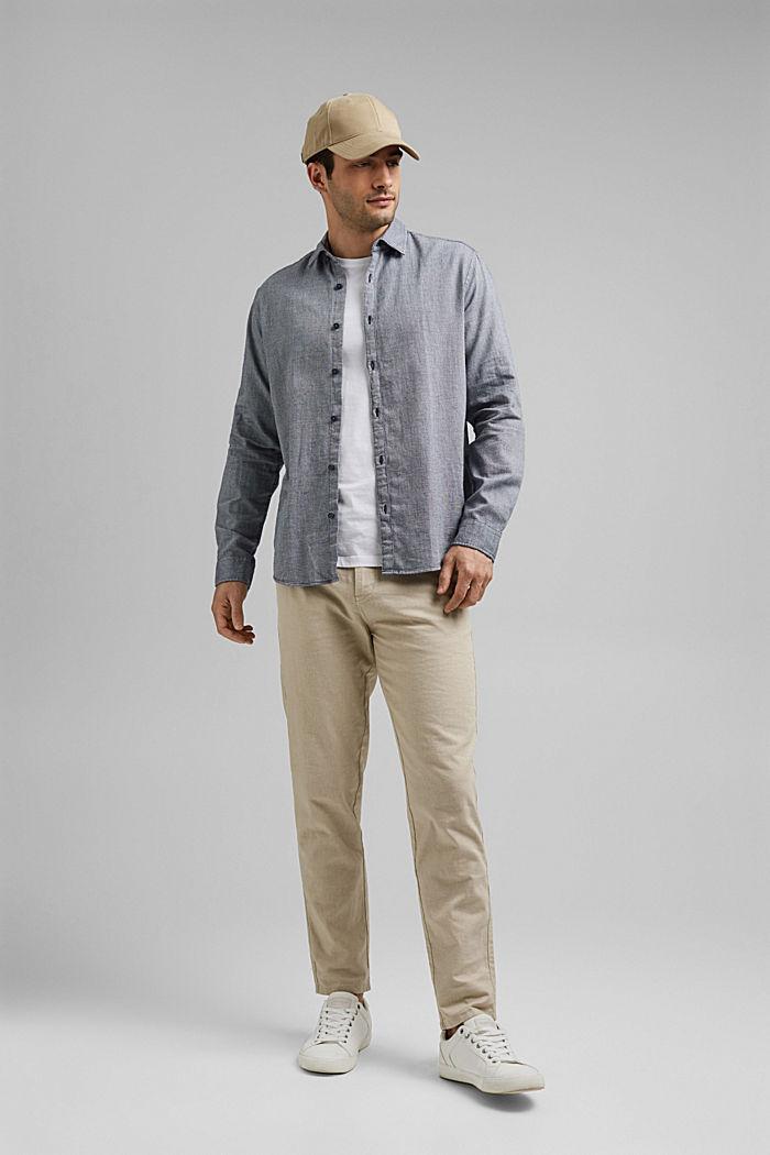 Gestructureerd overhemd van 100% biologisch katoen, NAVY, detail image number 1