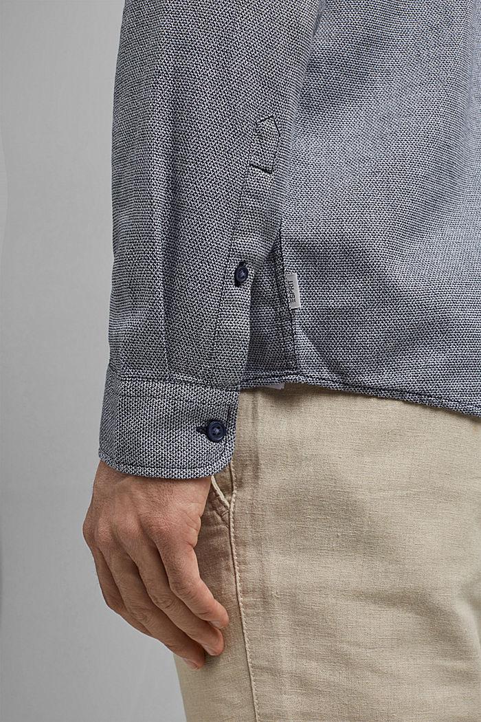 Gestructureerd overhemd van 100% biologisch katoen, NAVY, detail image number 5