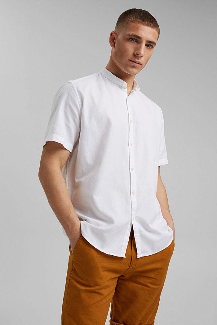 Overhemd met korte mouwen en structuur, biologisch katoen
