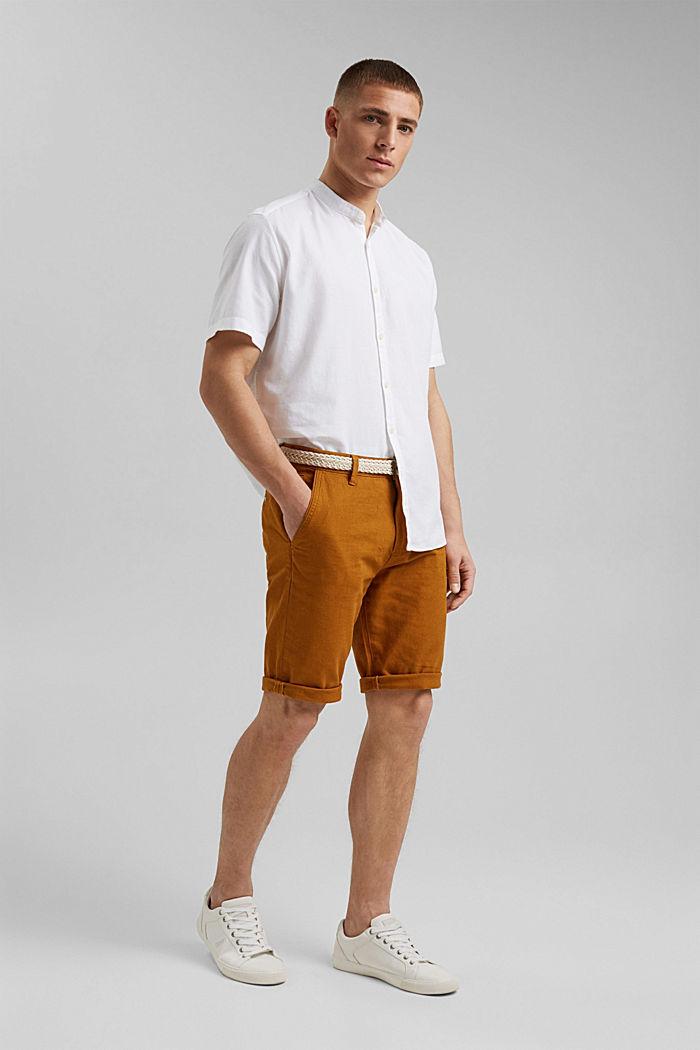 Kurzarm-Hemd mit Struktur, Organic Cotton, WHITE, detail image number 6