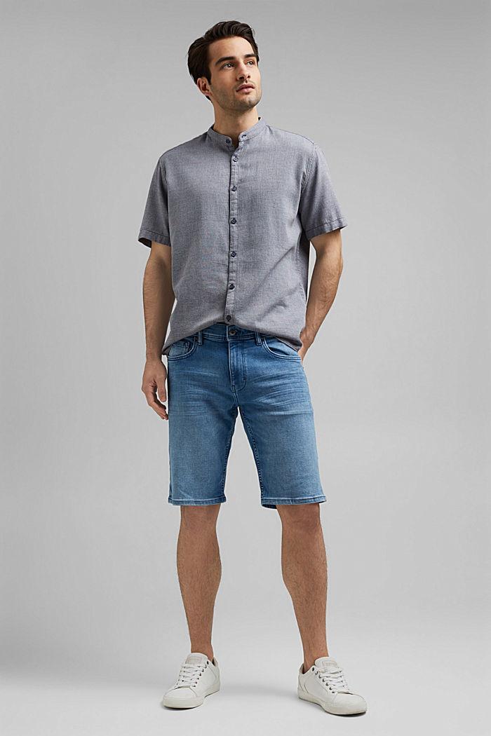 Kurzarm-Hemd mit Struktur, Organic Cotton, NAVY, detail image number 1