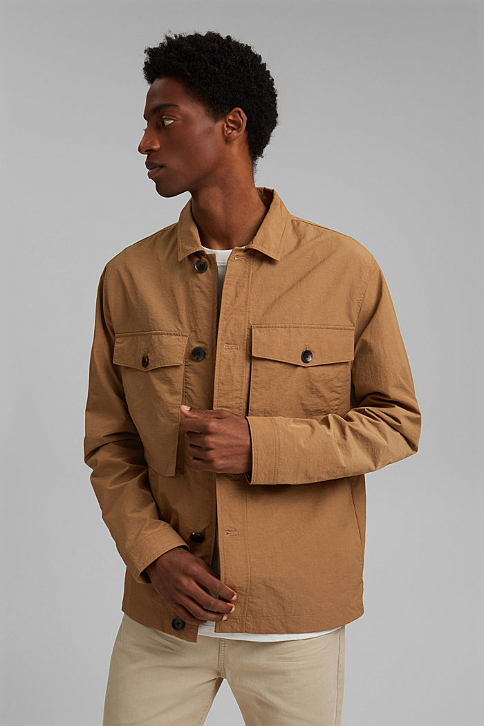 Recycled: safari jacket with mesh lining, CAMEL, detail image number 0