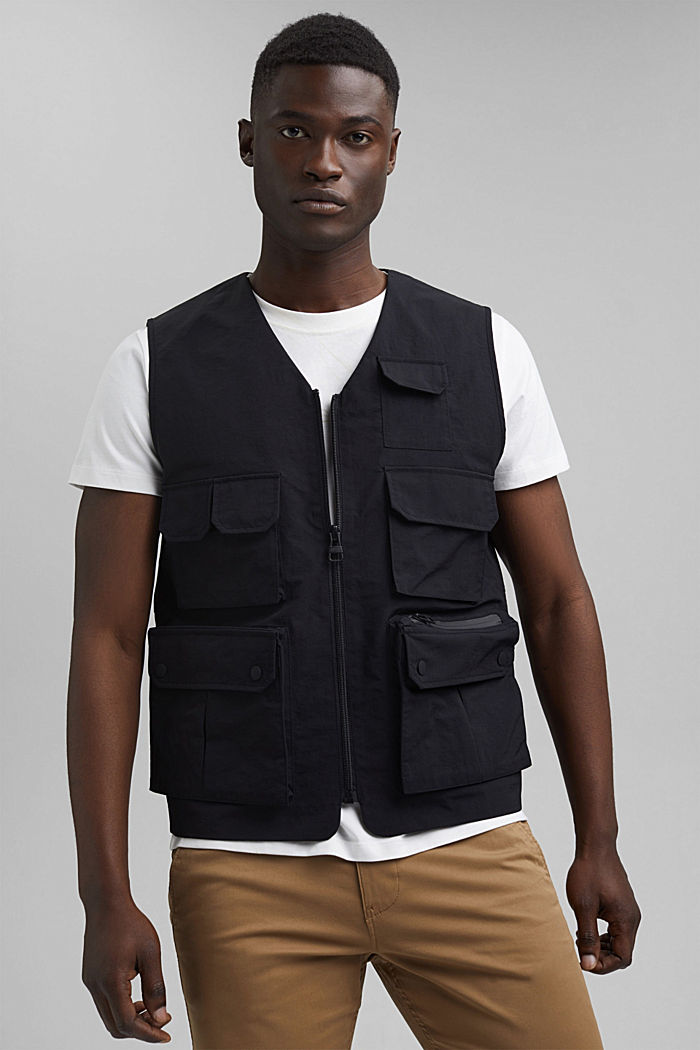 Recycled: outdoor waistcoat in a utility style, BLACK, detail image number 0