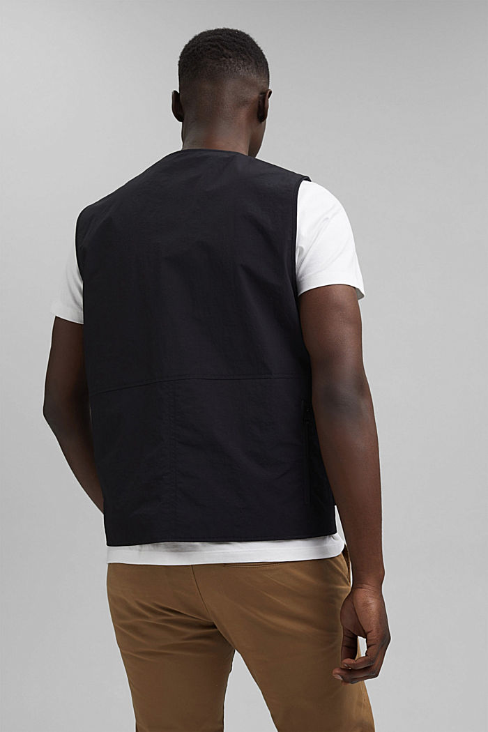 Recycled: outdoor waistcoat in a utility style, BLACK, detail image number 3