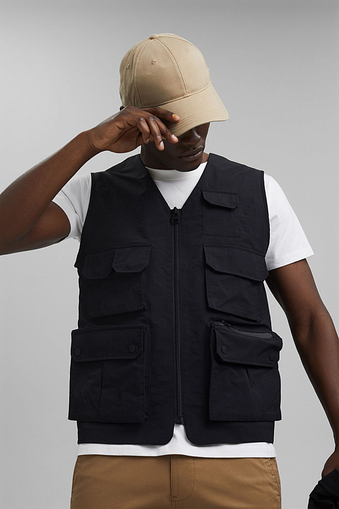 Recycled: outdoor waistcoat in a utility style, BLACK, detail image number 7