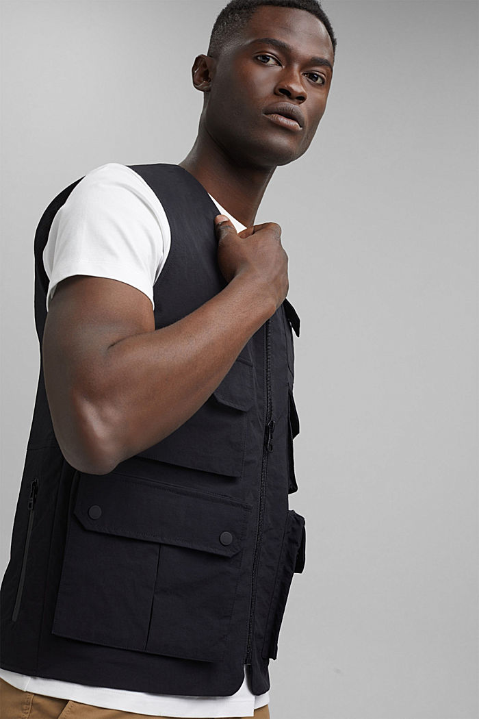 Recycled: outdoor waistcoat in a utility style, BLACK, detail image number 6
