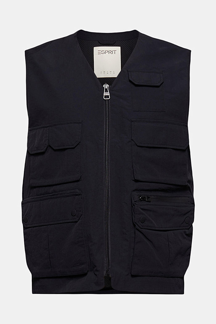 Recycled: outdoor waistcoat in a utility style, BLACK, detail image number 8