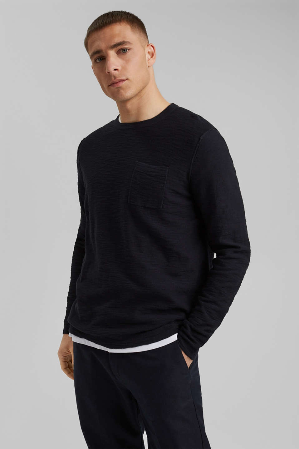 Esprit - Jumper with texture, 100% organic cotton