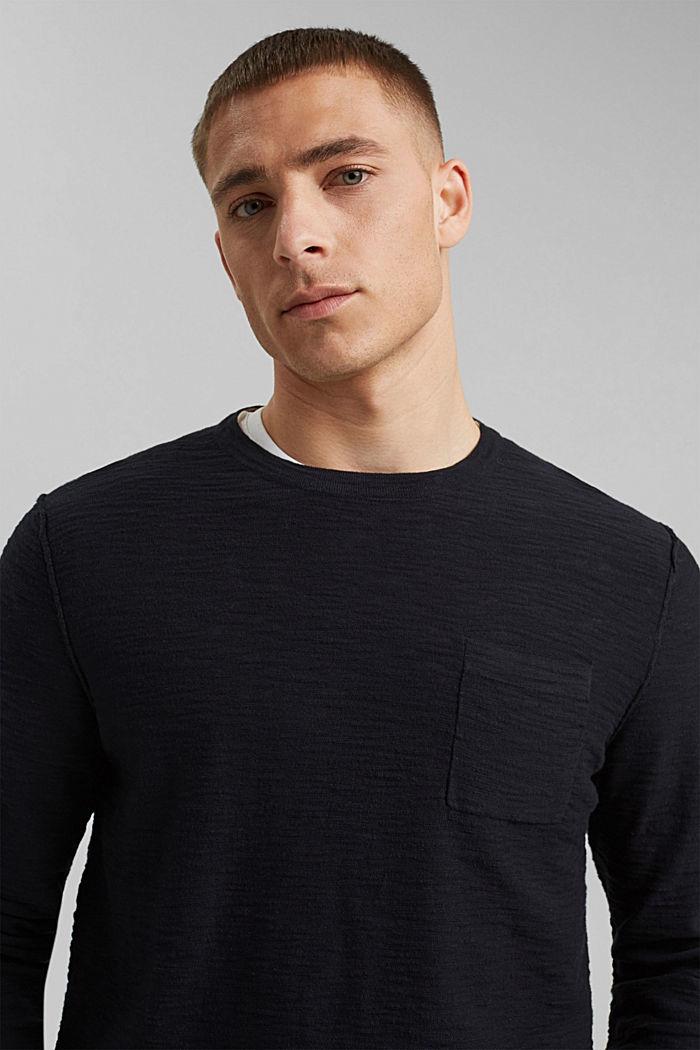 Pullover mit Struktur, 100% Organic Cotton, BLACK, detail image number 5