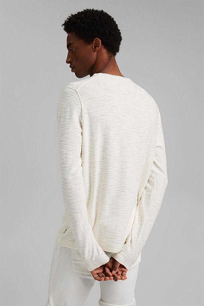 Pullover mit Struktur, 100% Organic Cotton, OFF WHITE, detail image number 3