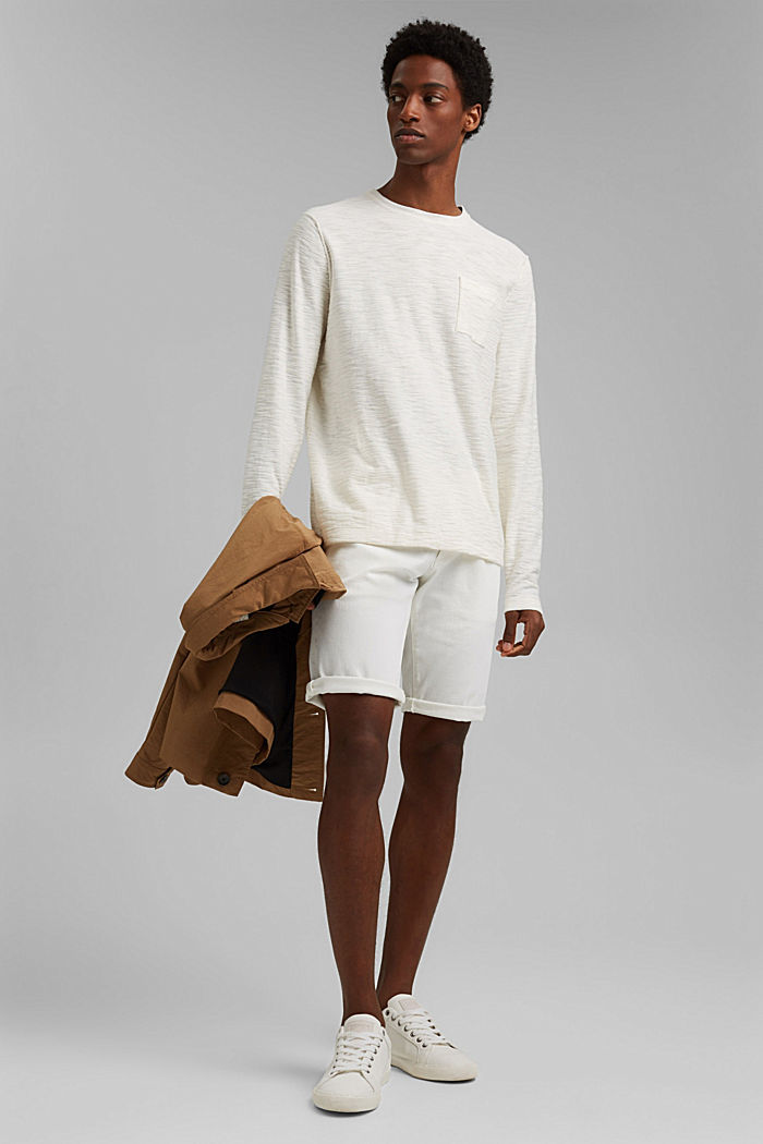 Pullover mit Struktur, 100% Organic Cotton, OFF WHITE, detail image number 1