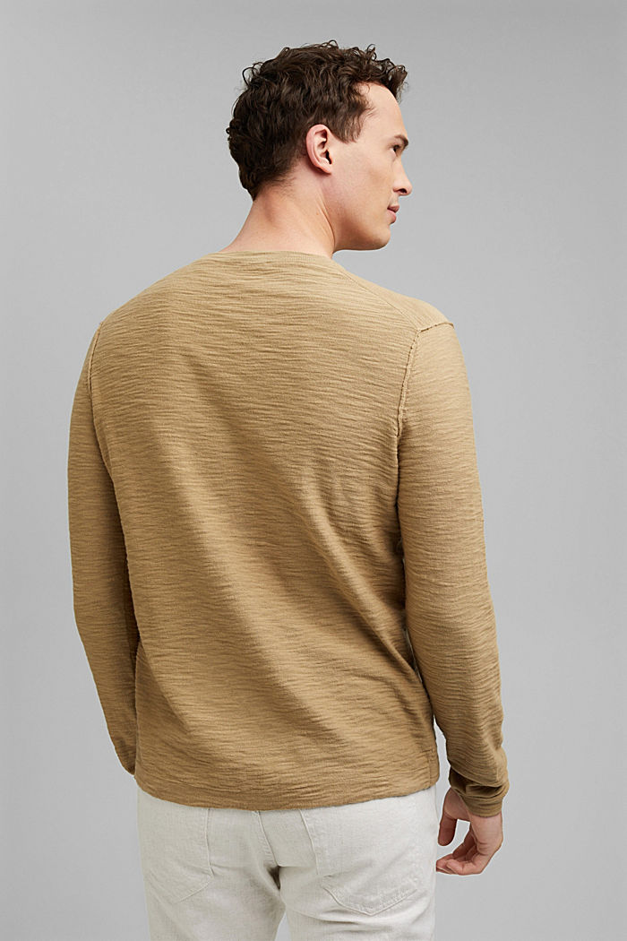 Jumper with texture, 100% organic cotton, CAMEL, detail image number 3