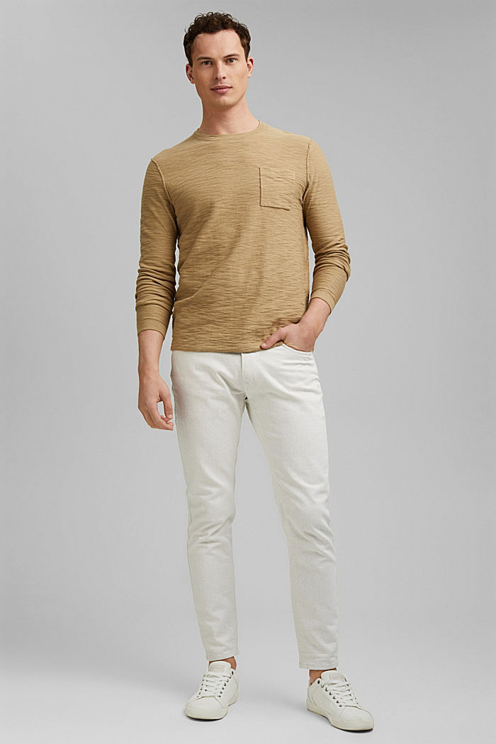 Jumper with texture, 100% organic cotton, CAMEL, detail image number 1