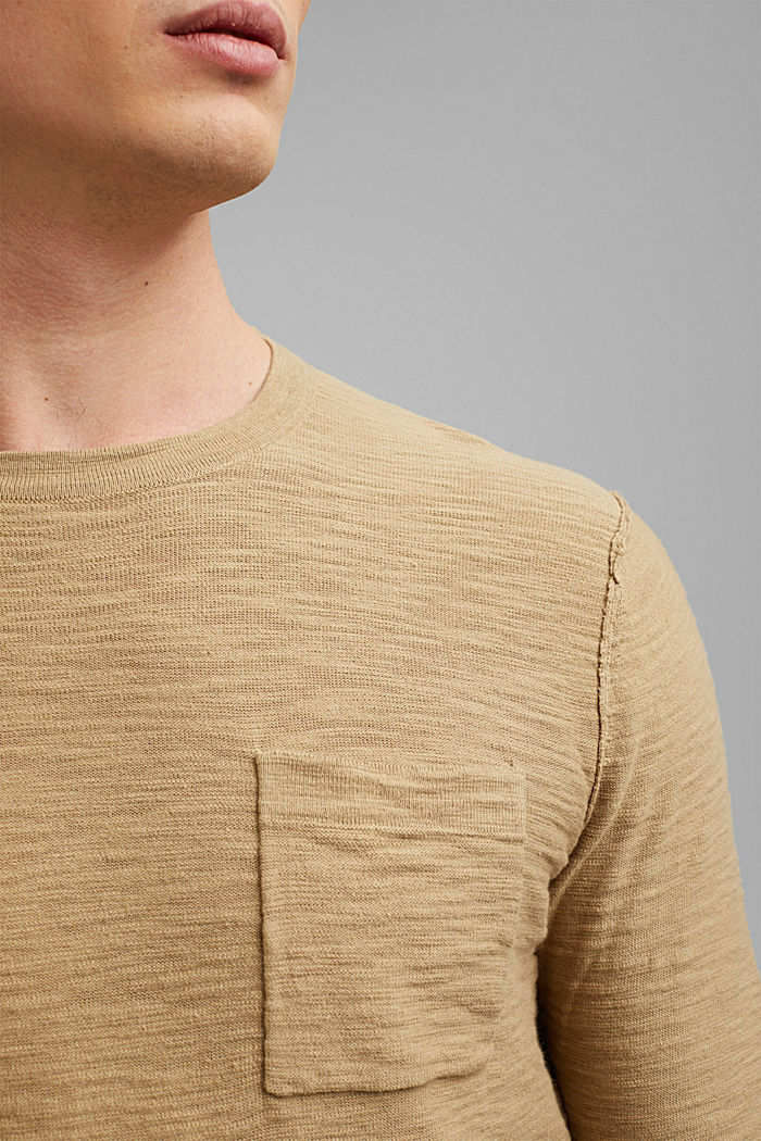 Jumper with texture, 100% organic cotton, CAMEL, detail image number 2