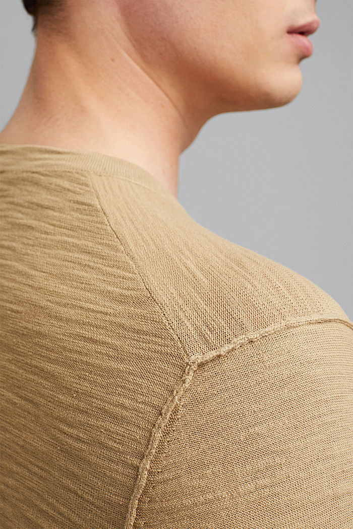 Jumper with texture, 100% organic cotton, CAMEL, detail image number 5