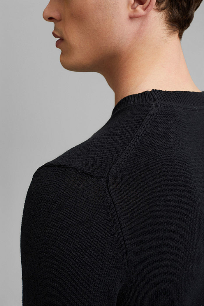 #ReimagineNaturalLifestyle: Pullover aus Leinenmix, BLACK, detail image number 2
