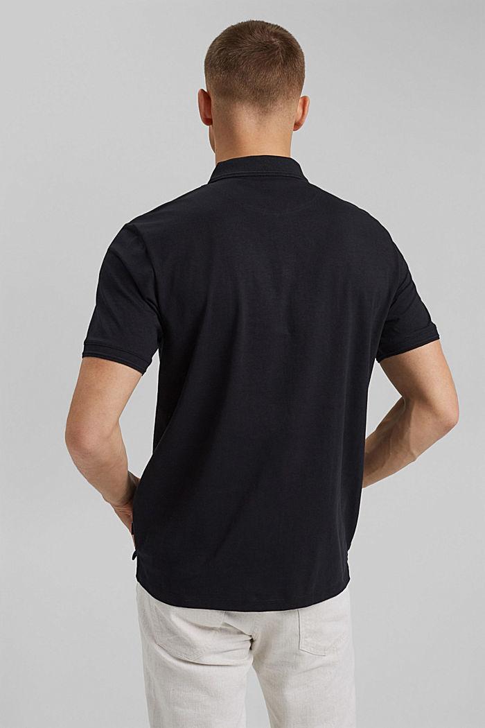 Lino/algodón ecológico: polo de jersey, BLACK, detail image number 3