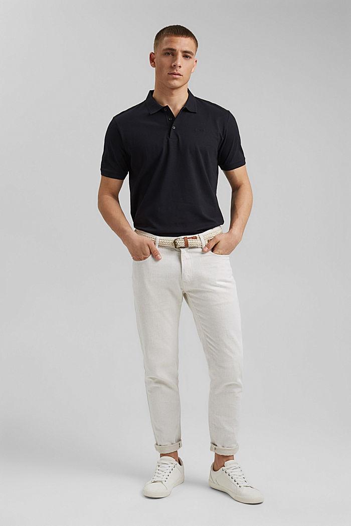Lino/algodón ecológico: polo de jersey, BLACK, detail image number 2
