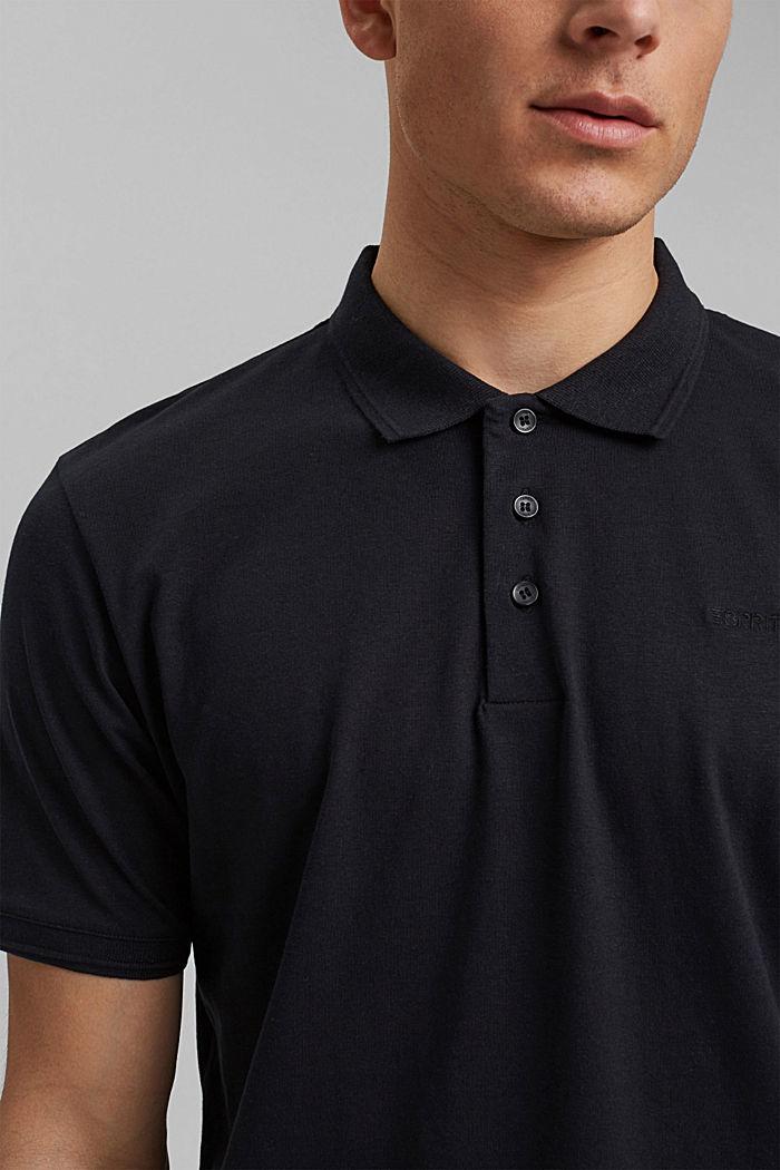 Lino/algodón ecológico: polo de jersey, BLACK, detail image number 1