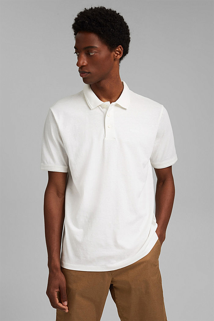With linen/organic cotton: jersey polo shirt, OFF WHITE, detail image number 0