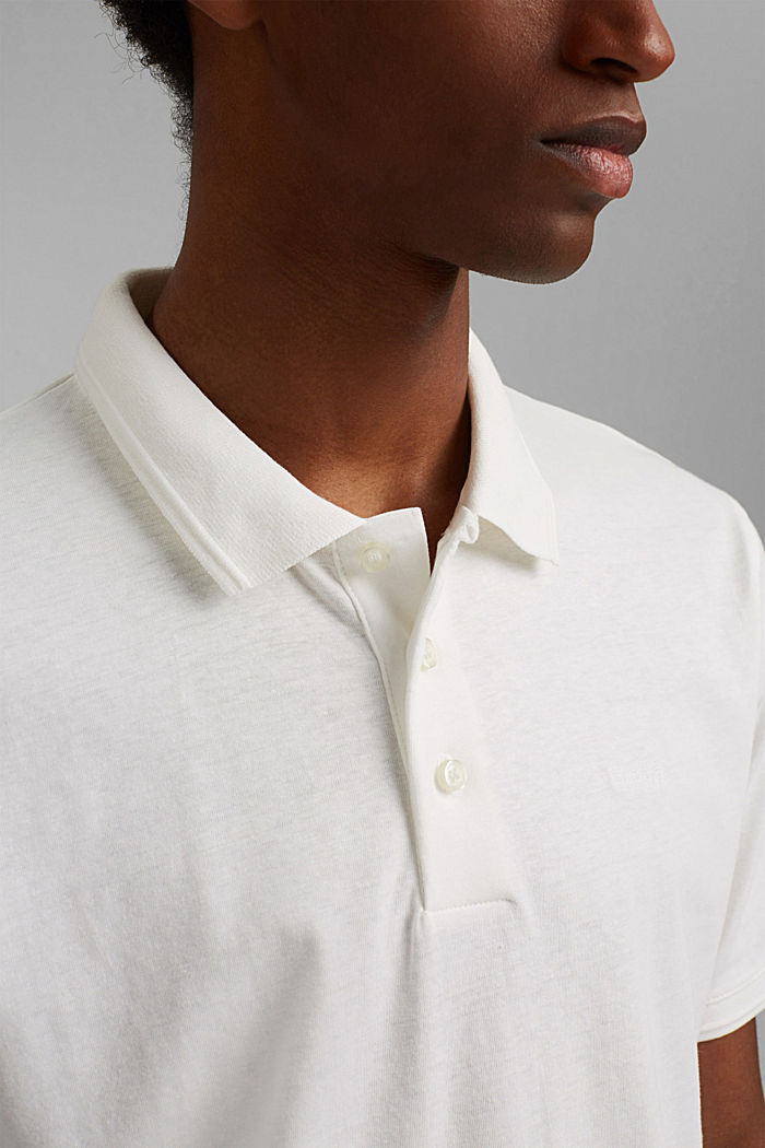 With linen/organic cotton: jersey polo shirt, OFF WHITE, detail image number 1