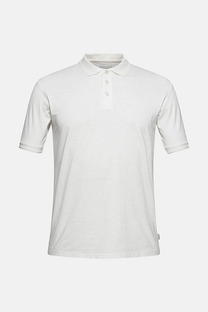 With linen/organic cotton: jersey polo shirt, OFF WHITE, detail image number 5