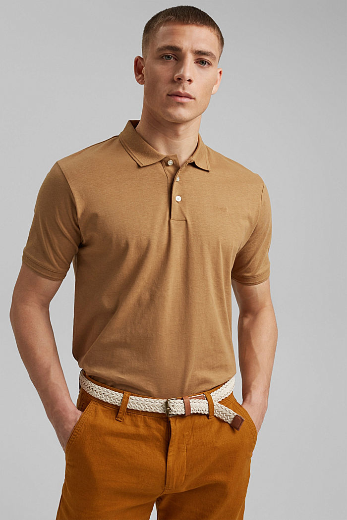 With linen/organic cotton: jersey polo shirt
