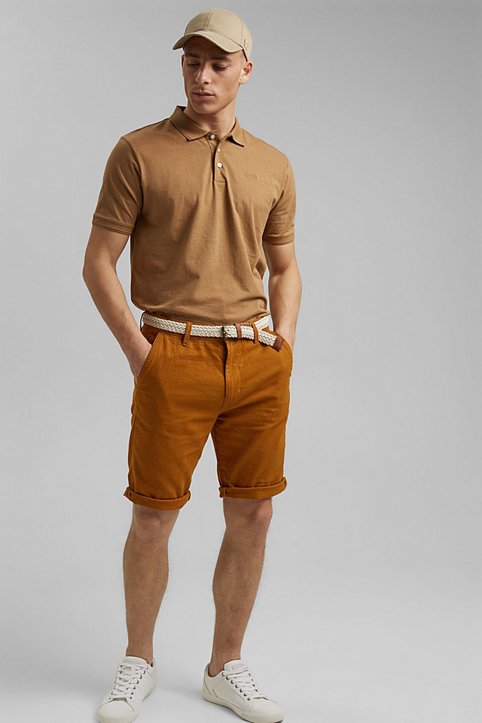 Met linnen/biologisch katoen: jersey poloshirt, CAMEL, detail image number 2