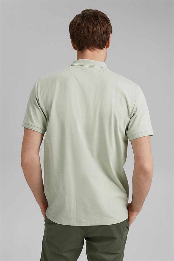 Mit Leinen/Organic Cotton: Jersey-Poloshirt, PASTEL GREEN, detail image number 3