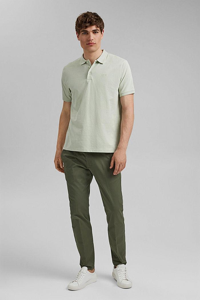Mit Leinen/Organic Cotton: Jersey-Poloshirt, PASTEL GREEN, detail image number 2