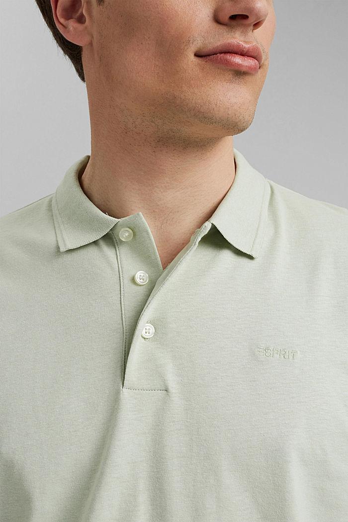Mit Leinen/Organic Cotton: Jersey-Poloshirt, PASTEL GREEN, detail image number 1