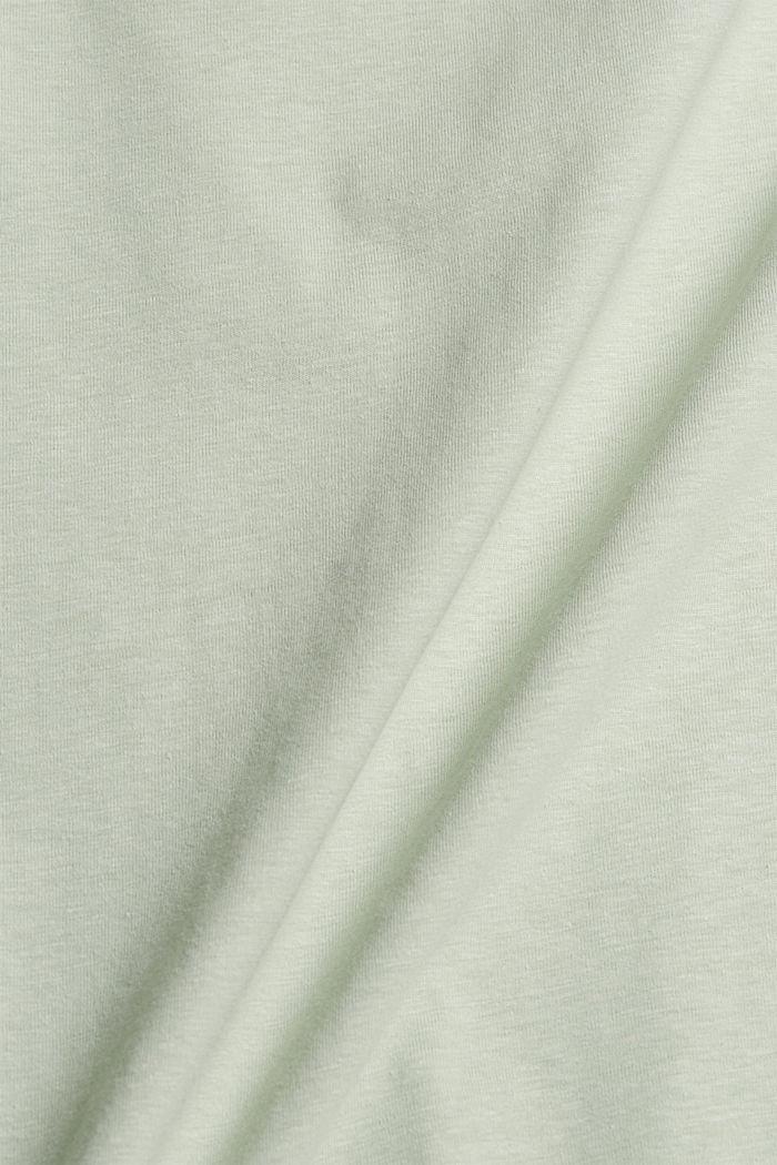 Mit Leinen/Organic Cotton: Jersey-Poloshirt, PASTEL GREEN, detail image number 4