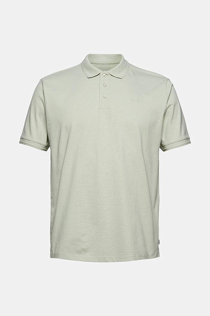 Mit Leinen/Organic Cotton: Jersey-Poloshirt, PASTEL GREEN, detail image number 5