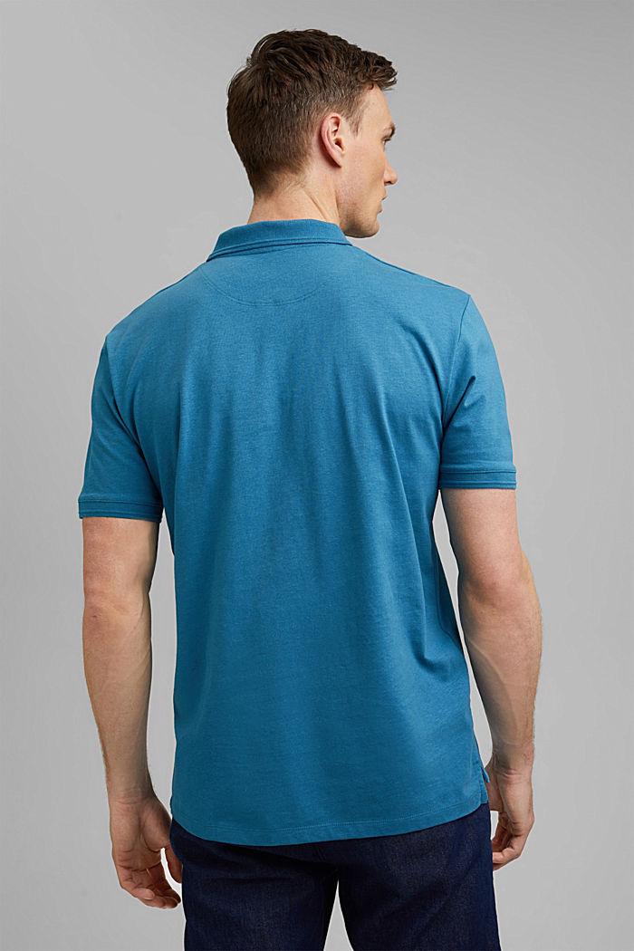 Se lnem/bio bavlnou: polokošile z žerzeje, PETROL BLUE, detail image number 3