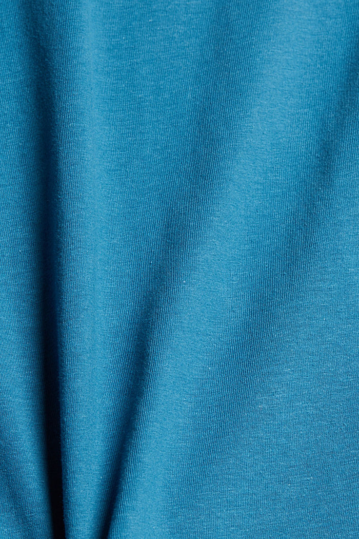 Se lnem/bio bavlnou: polokošile z žerzeje, PETROL BLUE, detail image number 4