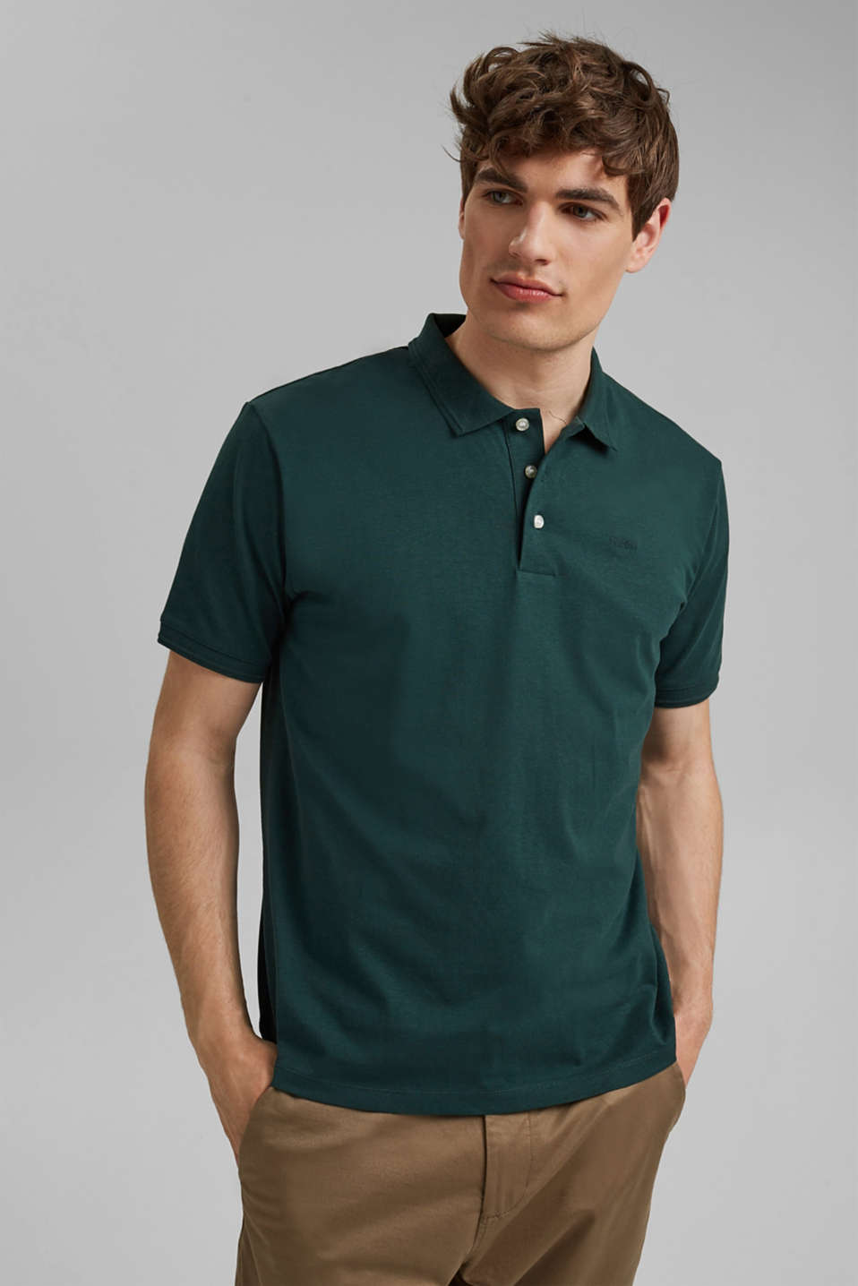 Esprit - With linen/organic cotton: jersey polo shirt