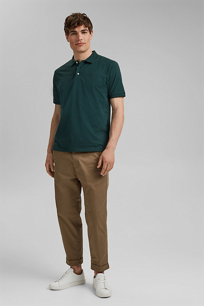 Mit Leinen/Organic Cotton: Jersey-Poloshirt, TEAL BLUE, detail image number 2