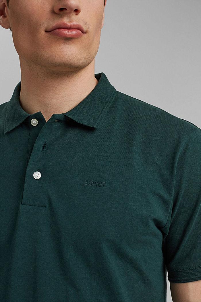 Mit Leinen/Organic Cotton: Jersey-Poloshirt, TEAL BLUE, detail image number 1