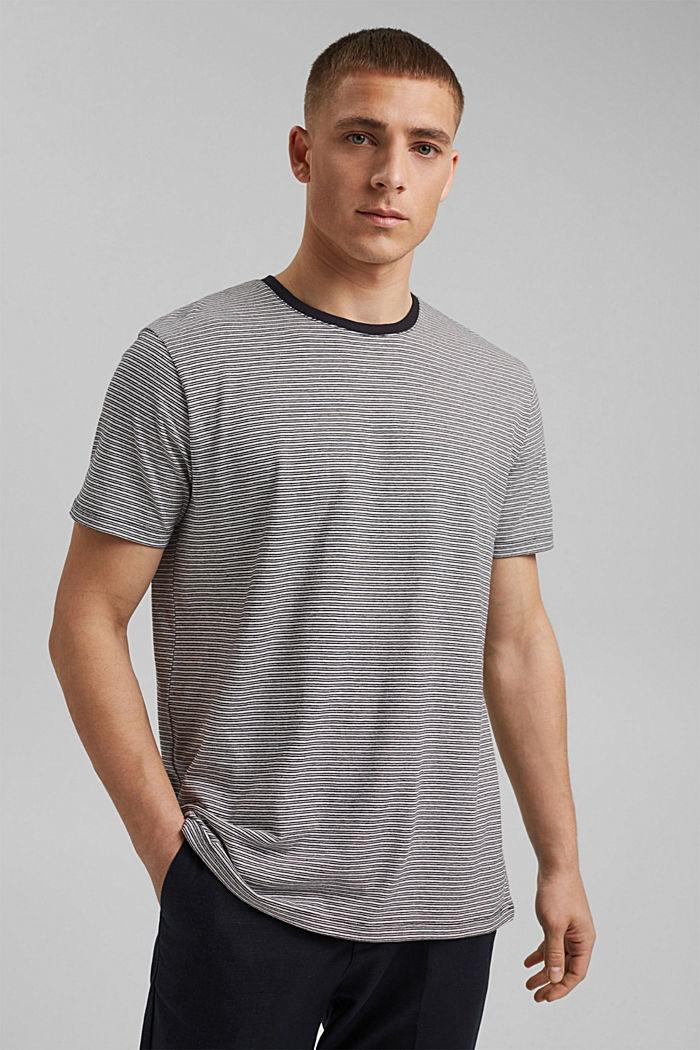 Mit Leinen: Jersey-T-Shirt mit Streifen