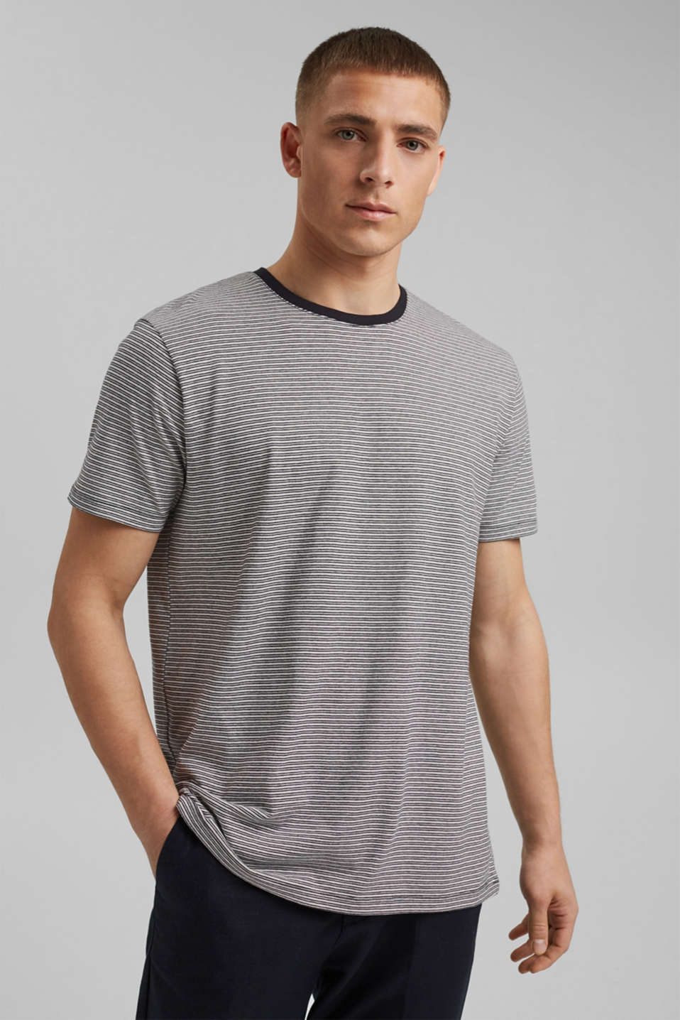 Esprit - Linen blend: jersey T-shirt with stripes