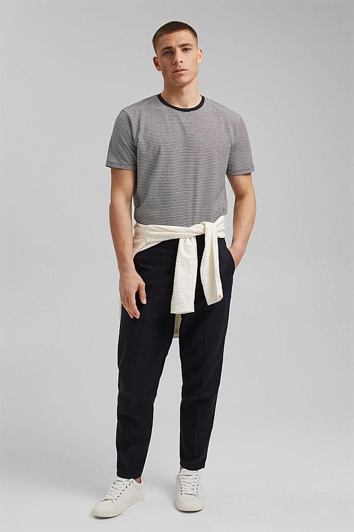Mit Leinen: Jersey-T-Shirt mit Streifen, BLACK, detail image number 2