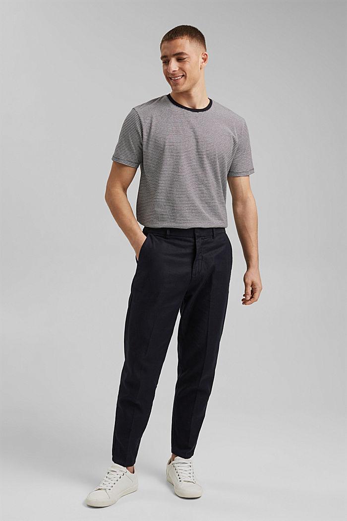 Mit Leinen: Jersey-T-Shirt mit Streifen, BLACK, detail image number 6
