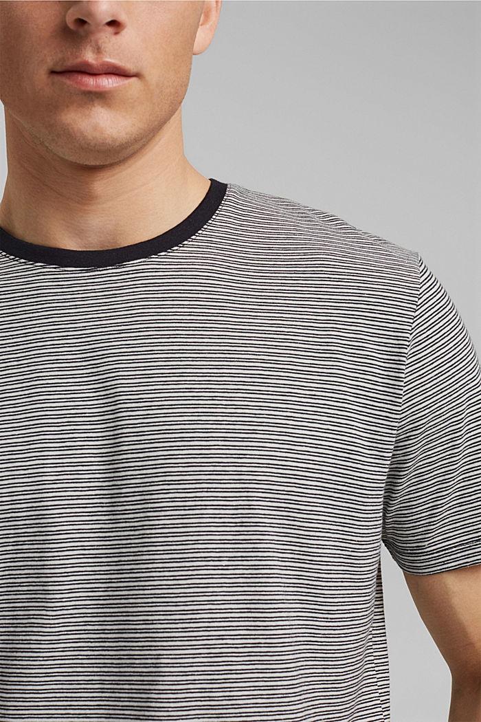 Mit Leinen: Jersey-T-Shirt mit Streifen, BLACK, detail image number 1