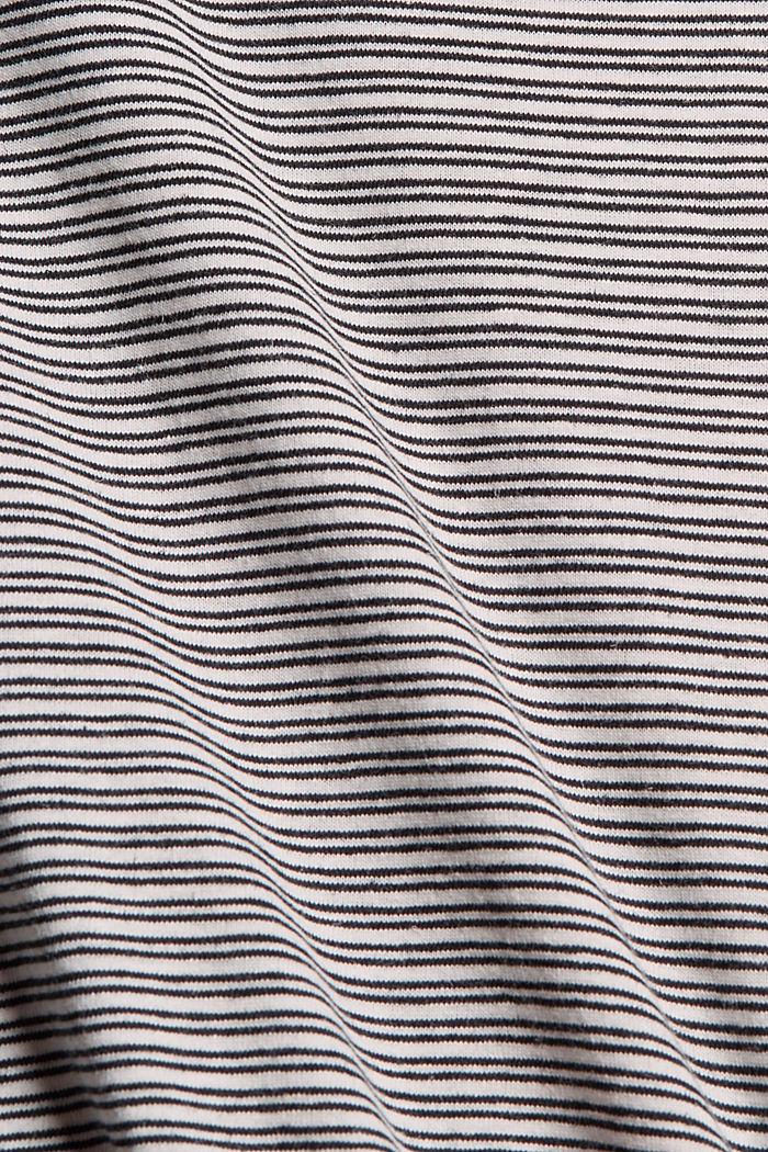 Mit Leinen: Jersey-T-Shirt mit Streifen, BLACK, detail image number 4