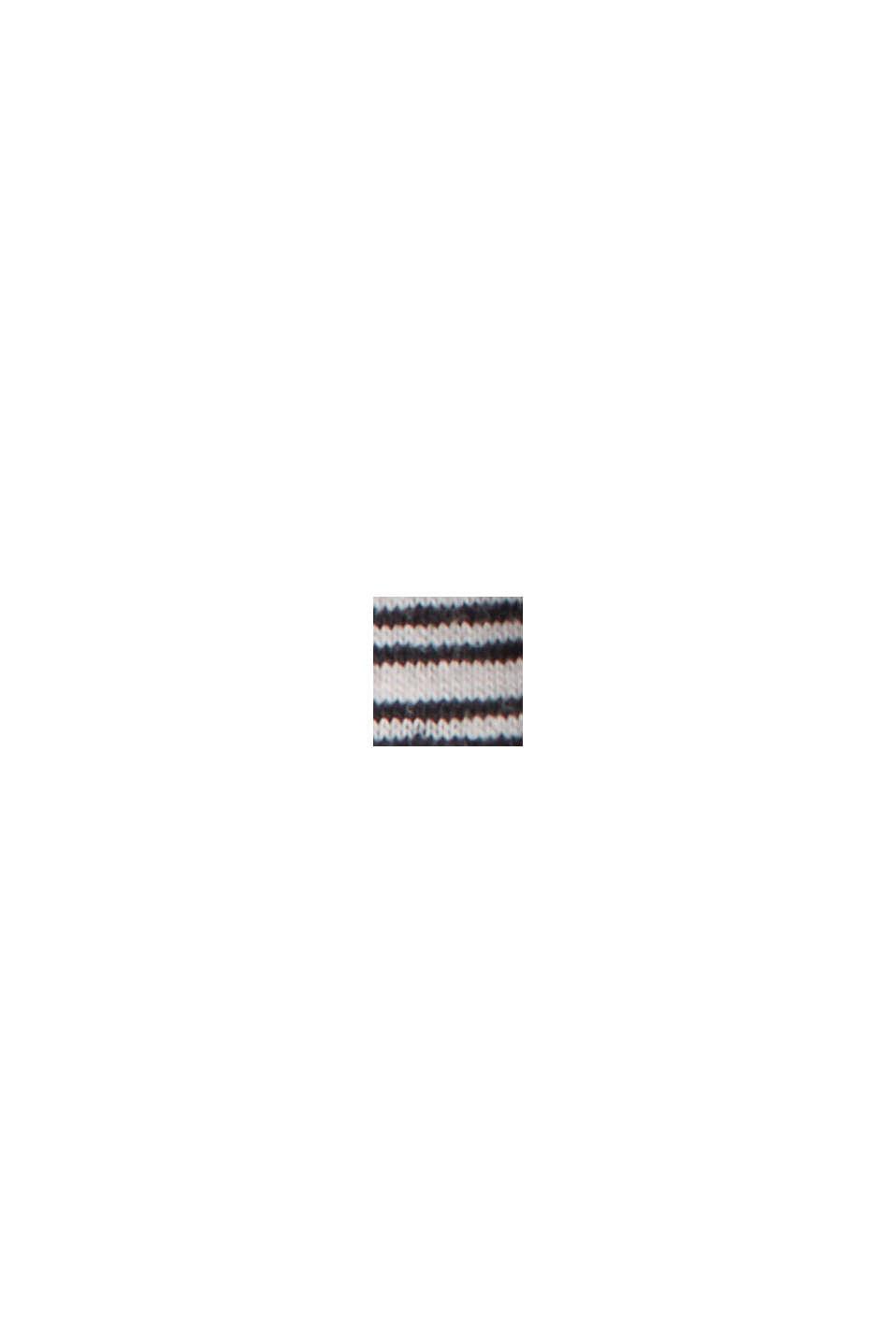 Linen blend: jersey T-shirt with stripes, BLACK, swatch